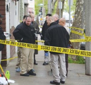 Boston Homicide Detectives outside 220 Chelsea St.; Pic Credit: Boston Globe
