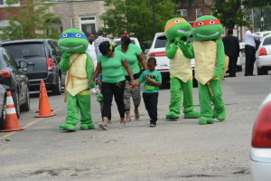 Mutant Ninja Turtles leave the Amari Brown funeral, Mt. Vernon Baptist Church 2622 W. Jackson. Saturday, July 11, 2015 (Brian Jackson/For the Chicago Sun-Times)