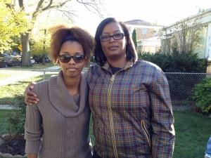 Chantal Pryor, 28, Kaylyn's sister, and Camisha Pryor, 40, Kaylyn's aunt, comfort each other at the family's Evanston home on Tuesday afternoon.   Maudlyne Ihejirika/Sun-Times