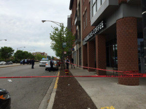 A woman was fatally shot, and a man critically injured outside a Starbucks at 35th and State Friday afternoon. | Andy Grimm/Sun-Times
