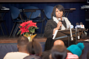 Demario Bailey's mother, Delores Bailey, speaks at the birthday observation and memorial for Demario at Johnson College Prep, December 16, 2014. | James Foster / For Sun-Times Media