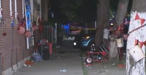 An East Garfield Park neighborhood block is decorated for a party near the scene of a fatal shooting early Sunday. | Network Video Productions