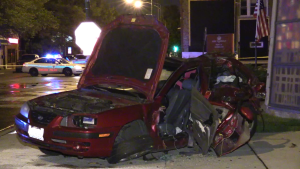 Chicago Police investigate a fatal crash late Tuesday in the 4400 block of South California. | Network Video Productions