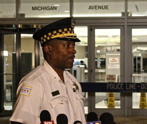 Deputy Chief of Detectives James Jones speaks to reporters outside CPD headquarters Friday night. | Daniel Brown/Sun-Times