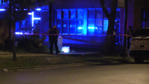 Chicago Police investigate in a lot in the 3900 block of West Monroe, where a man was shot to death early Monday. | Network Video Productions