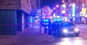 Authorities investigate after three men were stabbed, one fatally,   in Chinatown on Monday night. | Network Video Productions