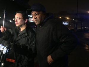 Ald. Raymond Lopez (left) and community activist Andrew Holmes address the media Wednesday evening near the scene of a mass shooting in Brighton Park. | Sam Charles/Sun-Times