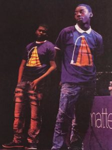 Stevie Jefferson, right, performing in a play at After School Matters with his cousin Detauris Jones, left / Family photo