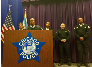Chicago Police Supt. Eddie Johnson discusses the slaying of four people in South Shore. The man charged in that shooting lost his own father to a fatal shooting the day before, police said. | Sam Charles/Sun-Times