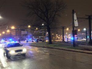 Police investigate after two people were killed in a South Shore drive-by shooting late Thursday. | Mitchell Armentrout/Sun-Times