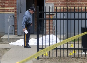 Police investigate a shooting on Oakland St. near Hoffman Monday Jan 21. 2013. (Trentonian photo/Jackie Schear)