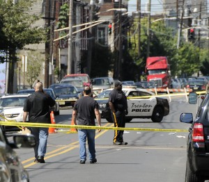 Police are on the scene of a shooting in the 800-block of East State Street in Trenton Sunday, Aug. 4, 2013. Another apparently related scene was several blocks away at East State near Olden Avenue. (Trentonian photo/Jackie Schear)