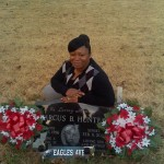 Catina Hunter at Marcus Hunter's gravesite