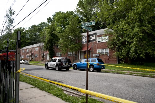 The scene at the 1000 block of Edgewood Avenue, where Keisha Alexander was killed in her apartment saturday morning. (Trentonian Photo/SCOTT KETTERER)