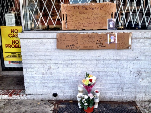 A makeshift memorial for Rodney Burke that was built on Hamilton Avenue. Nov. 9, 2014 (Penny Ray - Trentonian)