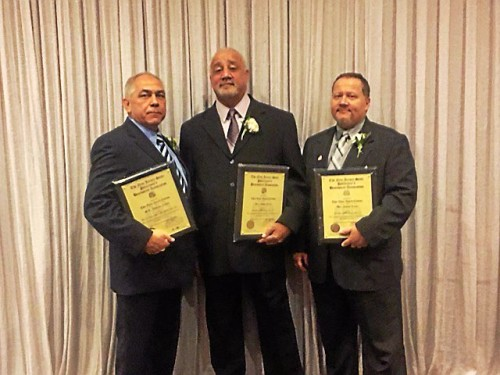 (Left to Right) Detectives William Miller, Edgar Rios and James Letts received the NJ State PBA's highest honor for their bravery during an August 2013 shootout in Trenton. (Contributed Photo)