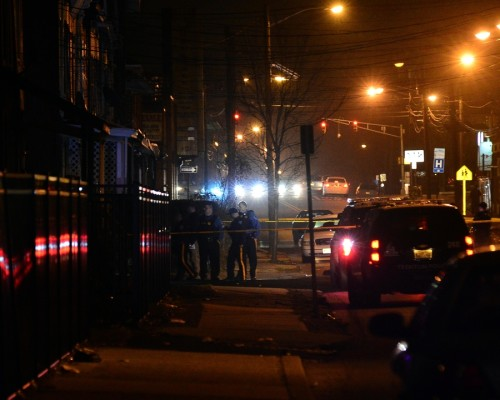 Police investigate a shooting in the area of Chambers Street and Walnut Avenue.  Jan. 9, 2016. (Scott Ketterer- The Trentonian)