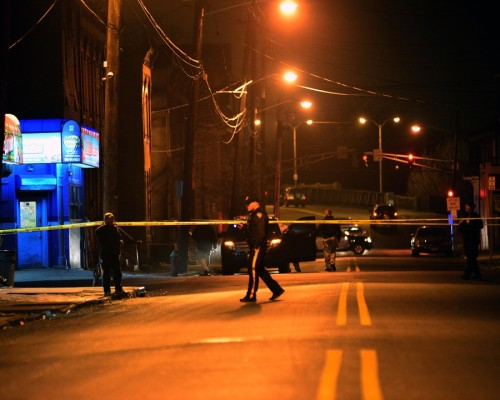 Police investigate a shooting in the area of Chambers Street and Walnut Avenue on Jan. 9, 2016. (Scott Ketterer- The Trentonian)