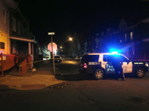 Police investigate on Cleveland Ave in Trenton where some teens found a man dead late Thursday night.  Sulaiman Abdur-Rahman - The Trentonian