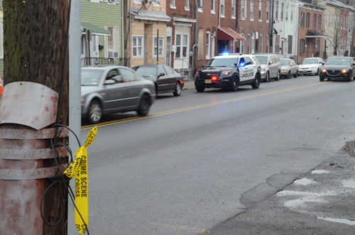 Police guard the scene of a hit-and-run fatality Tuesday morning. (Penny Ray - Trentonian)