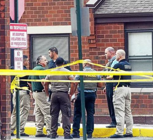 Trenton Police investigate a fatal shooting at the North 25 Housing complex on Friday, Oct. 6, 2017. (GREGG SLABODA — The Trentonian)