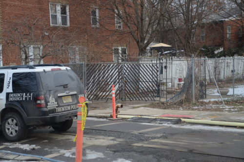 A man died after being shot in a car, which he crashed into this fence early Sunday morning. (Penny Ray - Trentonian)