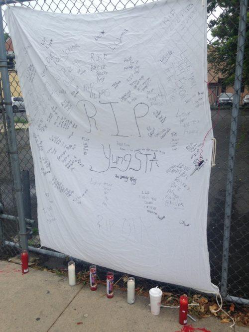 This makeshift memorial in honor of Tashaughn Robinson was displayed on the 600 block of Martin Luther King Jr. Boulevard near Bond Street in Trenton on Saturday, June 23, 2018. (SULAIMAN ABDUR-RAHMAN - The Trentonian)