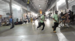Screengrab from a witness's video of the chaos that erupted when shots were fired at Art All Night in Trenton.