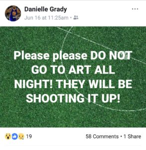 This was posted to Facebook 15 hours before a shootout at Art All Night in Trenton.