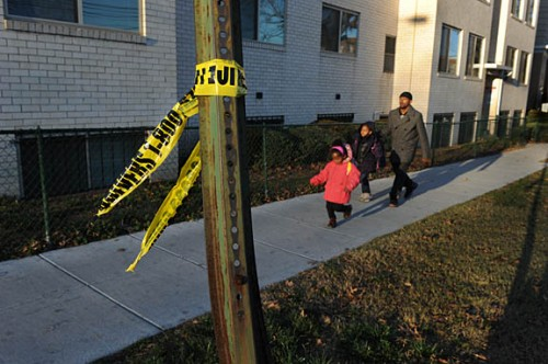 Crime scene tape marks the spot where Selina Brown was killed.