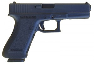 "A ""second generation"" Glock 17, identified by the checkering on the front and rear straps of the pistol grip and trigger guard. Source: Wikipedia."